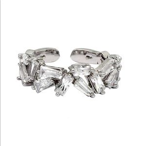 Small crystal tiles silver ring